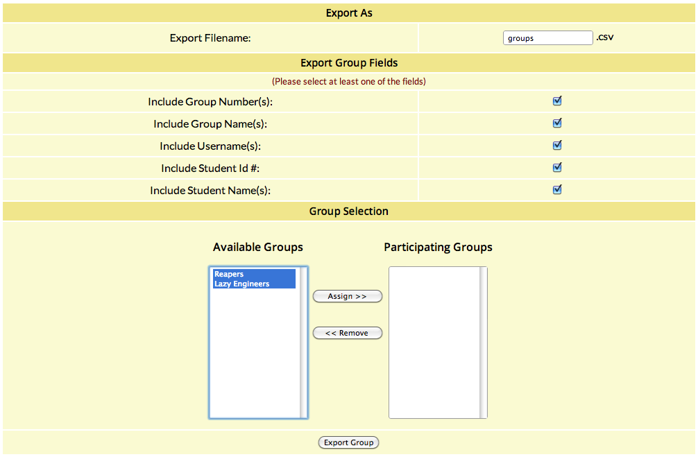 interface for exporting groups to csv